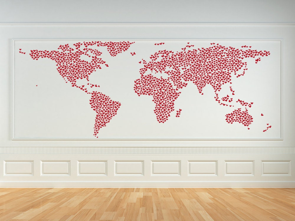World map wall decal heart decor hearts world map wall art zoom gumiabroncs Gallery