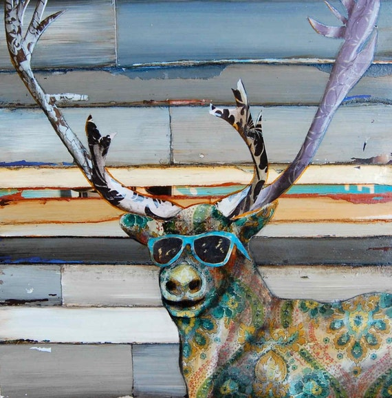 ART PRINT, caribou deer sunglasses mountain print art wall decor funny animal hunter antlers fathers day,mixed media painting,All Sizes