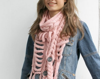 Pale Pink  Wool  Scarf with Dark Gray Button Mother's day gift For Her