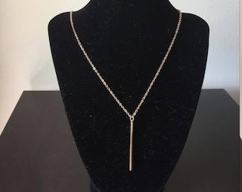 Long vertical bar necklace, gold vertical bar necklace, 18k gold plated necklace, women necklace, simple bar necklace