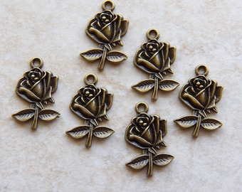 26mm Antique Bronze Rose Charm Pendants, 6 PC (INDOC173)