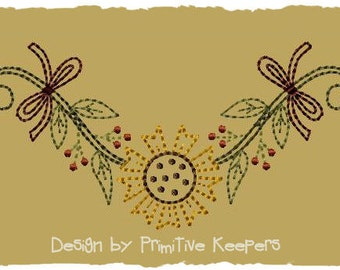 Primitive Machine Embroidery Design-Sunflower Garland--Version 2--(5X7)-INSTANT DOWNLOAD