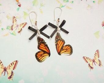 Aretes de alas de mariposa monarca