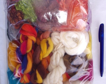 215g (10.84 Euro/100g) 7.6oz Fiber project bag, felting wool, spinning fiber, felting fiber, dolls hair, merino wool roving, fiber mix