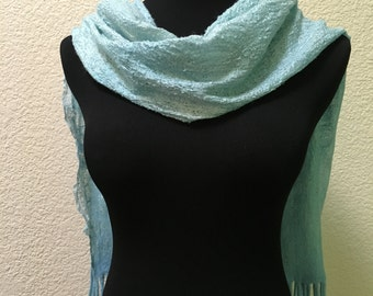 Felting Felted Lightweight Light Blue Merino Wool Silk Nuno Scarf Wrap Gift for any occasion