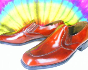 12 C mens vintage STACY ADAMS PORTOPED brown leather loafers shoes nos