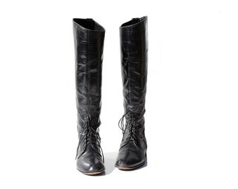 Vintage Soft Black Leather Ankle Lace Knee High Boots / size 6