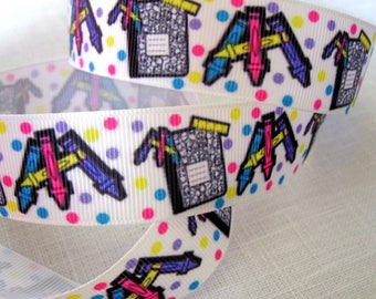 Ribbon grosgrain printed * 25 mm * school notebook pencil multicolored polka dots - sold by the yard