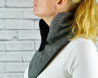Women's Buttoned Scarf - Black Grey Birdseye Yorkshire Tweed