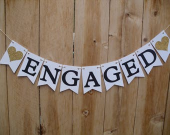 Engaged Banner - Engagement Party Decorations, Gold Engagement Banner - Heart Can Be Customized With Your Color