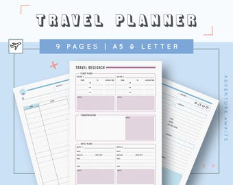 Travel Planner Inserts | Vacation Planner Kit | Holiday Trip Printable Kit | Packing List | Travel Itinerary | Vacation Checklist
