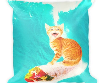 Kitty Cat Surfing Burrito Square Pillow