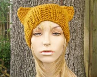 Knit Hat Womens Hat - Cat Beanie Hat in Mustard Yellow Knit Hat - Yellow Hat Yellow Beanie Yellow Cat Hat Womens Accessories Winter Hat