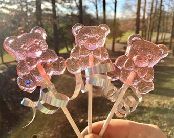 Strawberry Bear Lollipops Pink 24 Wedding Favors, Anniversary Favors, Baby Shower Favors, Bear Favors, Bridal Favors, Valentines, Teddy Bea