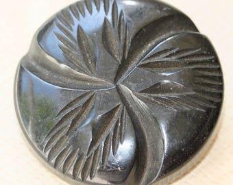 Carved Black Bakelite Button
