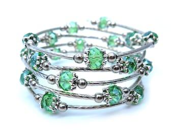 Spring Green Glass Memory Wire Bracelet