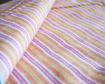 Linen and Cotton Fabric - by the yard, Vintage Striped Fabric in bright orange, Sewing Supply Yardage, Linen Yardage