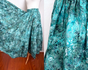 Maxi Skirt Batik 1960s Turquoise Prairie Watercolor Op Art Circle Wide Sweep Flared Small
