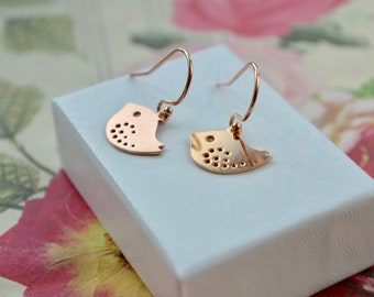 Rose Gold Bird Earrings, Dainty Bird Drop Earrings, Bird Jewellery, Small Rose Gold Earrings, UK, Whimsical Jewellery, Bird Gifts, For Women