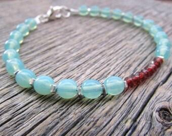 Red Garnet Bracelet, Vintage Glass Bracelet, Czech Bracelet, Boho Bracelet, Bead Stack Bracelet, Garnet Bead Bracelet, Gemstone Bracelet