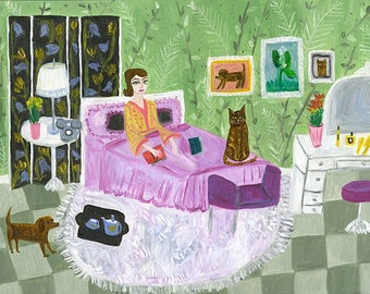 Carlotta Satterfield alternately worries that she may or may not be a hypochondriac.  Limited edition print by Vivienne Strauss.