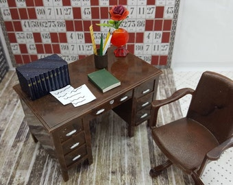 Renwal Desk and Swival Chair Brown  Dollhouse Toy Furniture Hard Plastic