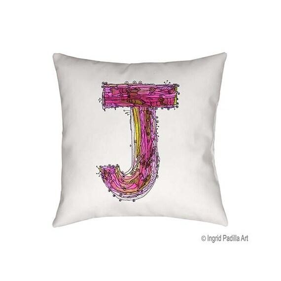 Letter J Pillow, Pillow, art pillow, Letter Pillow, Decorative pillows, monogram pillow, J Pillow, Alphabet Art, throw pillow, custom Pillow