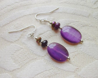 Purple Cats Eye Purple Metallic Crystal Beaded Dangle Earrings Pierced Purple Earrings Modern Earrings