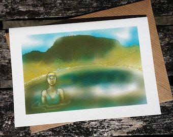 greetings card: 'Self-portrait in Red Tarn' - art card, open water swimming, wild swimming