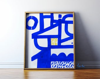 Abstract painting. Modern art high quality giclée print. Blue wall art. 48x55cm poster. Archival paper.