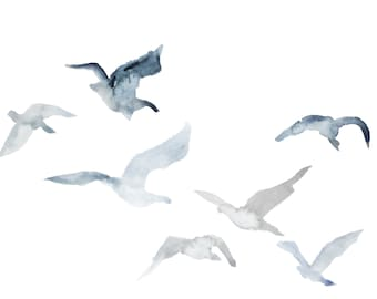 winter geese no. 3 . giclee fine art print of watercolor