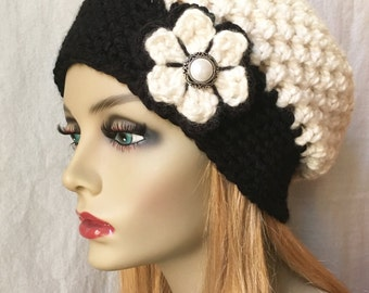 Sale Crochet Slouchy Beret, French Beret, Womens Hat, Off White Cream Black, Pick Color, Chunky, Holiday Gifts for Her JE505B9