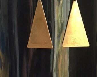 Brass Triangle Drop Earrings