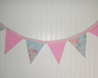Shabby Chic, Roses, Tea Party, Pink, Bunting, Fabric Banner, Birthday, Shower, Nursery, Photo Shoot, Back Drop, Cake Smash, Newborn