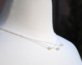 Collier de mariée, blanc, Ivoire perles d'eau douce, chaîne en argent Sterling Multi Strand, mariage, demoiselles d'honneur, de plage, marcottage