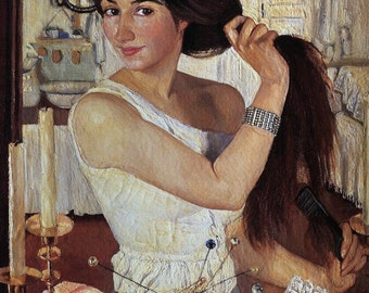 Self-portrait by Zinaida Serebriakova Home Decor Wall Decor Giclee Art Print Poster A4 A3 A2 Large Print FLAT RATE SHIPPING