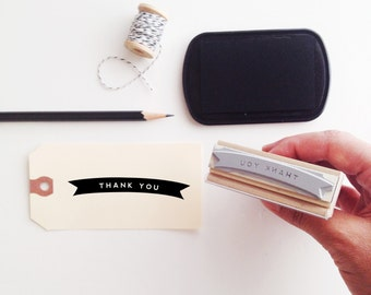 Thank You Banner  Wood Handle Stamp