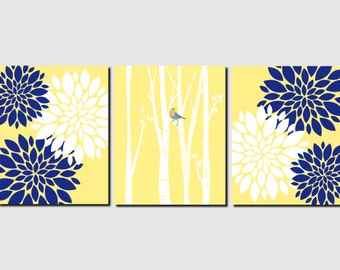 Navy Yellow White Wall Art Bedroom Wall Art Bathroom Decor Home Decor Living Room Entry Kitchen Art, Any Color, Set of 3 Art Prints