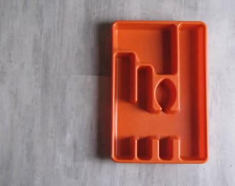 Vintage Rubbermaid Orange Plastic Silverware Holder