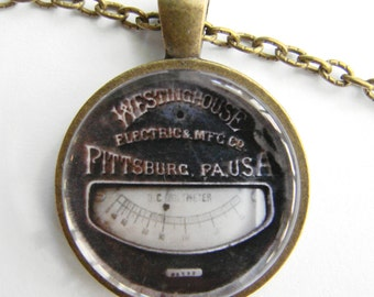 Vintage WESTINGHOUSE DC VOLTS Meter Necklace -- Technology Art, Steampunk for Electricians and Electrical Engineers, Friendship token
