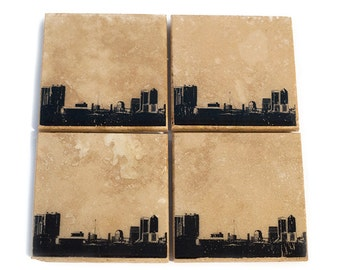 Jacksonville Florida Skyline Coaster Set (4 Stone Coasters, Black & White) City Skyline Home Decor