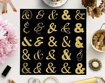 TYPO ELEMENTS, Gold Ampersand Clipart, Wedding Typography Elements, Gold Foil Clipart, Gold Decorations, Coupon Code: BUY5FOR8