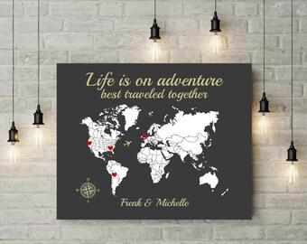 World Map Poster | Map Art | Push Pin Map | Engagement Gift | Anniversary Gift | 10 Years Anniversary Gift | World Map Wall Art - 60577B