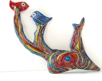 Birds on branches wall sculpture