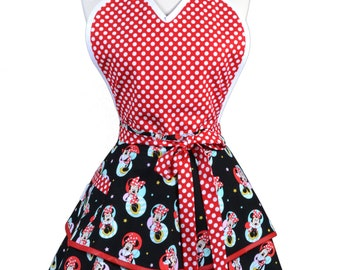 Flirty Pinup Apron - Womens Disney Minnie Mouse Kitchen Apron - Sexy Cute Sweetheart Apron with 2 Skirts and Pocket - Monogram Option