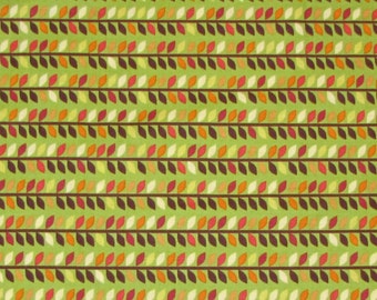 Green Brown Rust Leaf Stripe - Timeless Treasures Cotton Fabric YARDS
