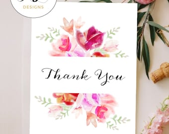 INSTANT Download, Printable Thank You Card, Vintage Floral - WD218