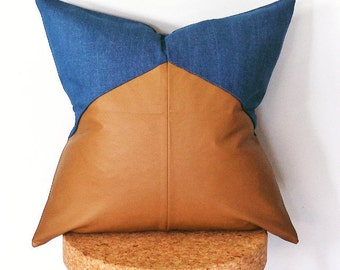 LAST AVAILABLE. Tan Leatherette and indigo light washed denim cushion cover. Pillow Cover.