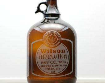 Classy Label Home Brew 1 Gallon Growler with  Design. Homebrew, fathers day gift,custom pint,engraved pint, custom Beer growler