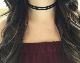Black and Gold Choker // Sparkly Gold // Going out Jewelry // Trendy Choker // Christmas Choker // Holidays